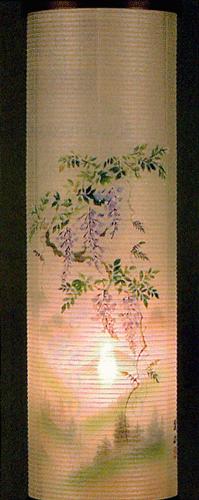 盆提灯-住吉提灯 二重張り 欅 「藤山水」 九寸(9号)の画像3