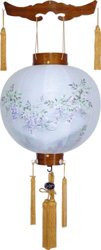 盆提灯-御殿丸 二重張り 欅 「藤山水」 尺三(13号)の画像1