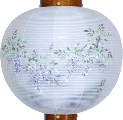 盆提灯-御殿丸 二重張り 欅 「藤山水」 尺三(13号)の画像2