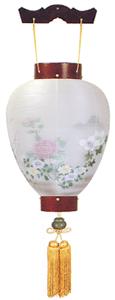 盆提灯-別撰・御所提灯 二重張り 桜 「牡丹芙蓉」