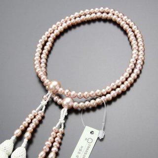 八宗派兼用 数珠 女性用 8寸 ピンク 淡水パール 正絹松風房 2000400801243 送料無料