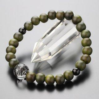 数珠ブレスレット 約8ミリ 緑檀 龍彫り水晶 オニキス 2000800202138