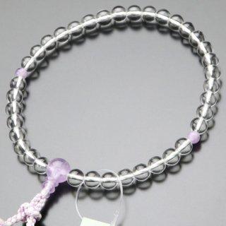 数珠 女性用 約7ミリ 本水晶 藤雲石 銀花かがり房 2000200301813
