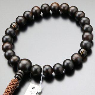 浄土真宗 数珠 男性用 22玉 縞黒檀 2天 茶水晶 紐房 2000100900284