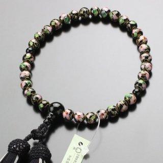 数珠 女性用 約8ミリ 七宝焼(黒)オニキス 正絹2色房 2000200301929 送料無料