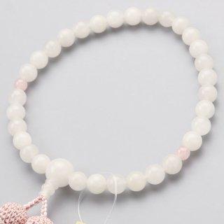 数珠 女性用 約8ミリ 白オニキス 2天 ローズクォーツ 正絹房 2000200200468