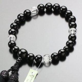 数珠 男性用 22玉 黒オニキス 四神彫り水晶 正絹房 2000100301302 送料無料