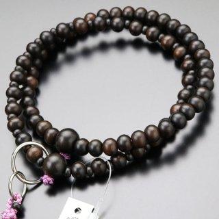浄土宗 数珠 女性用 8寸 縞黒檀(艶消し)並環 梵天房 2000400200602