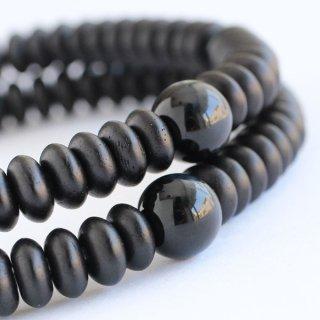 数珠ブレスレット 108玉 みかん玉 黒檀 青虎目石 2000800202206