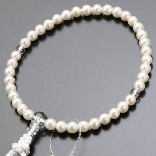 数珠 女性用 約6.5ミリ 本真珠 本水晶 正絹房 102000042 送料無料