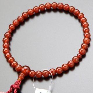 数珠 女性用 約7ミリ 本瑪瑙 銀花かがり房 2000200301998