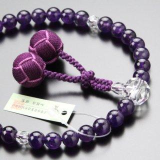数珠 女性用 約8ミリ 紫水晶 カット水晶 2色梵天房 2000200401674 送料無料