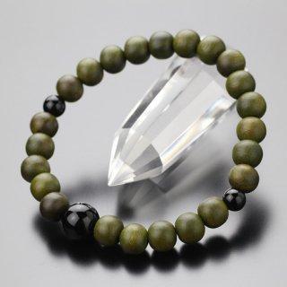 数珠ブレスレット 約8ミリ 緑檀 黒オニキス 107080081