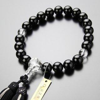数珠 男性用 20玉 黒オニキス 龍彫り本水晶 正絹2色房 101200030 送料無料