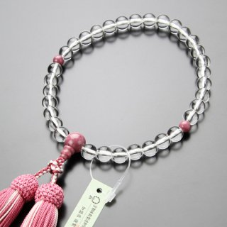 数珠 女性用 約8ミリ 本水晶 ロードナイト 正絹2色房 102080008 送料無料