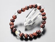 ◆特価◆守り本尊梵字(10ミリ・本水晶) 8ミリ 赤虎目石 腕輪念珠【107080248】