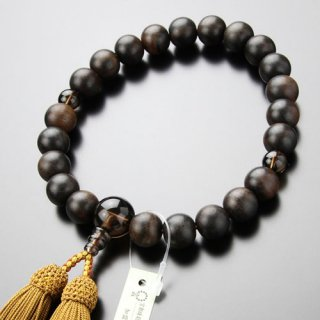 数珠 男性用 22玉 縞黒檀(艶消し)茶水晶 正絹房 101220061