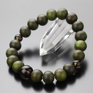 数珠ブレスレット 約10ミリ 緑檀 茶水晶 107100034