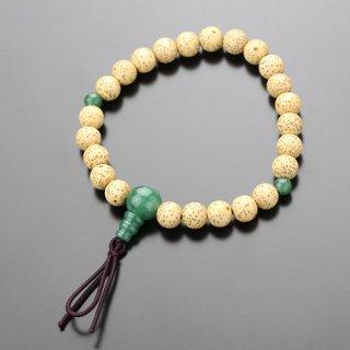 数珠ブレスレット 尺二玉 星月菩提樹 印度翡翠 ボサ付 107080067