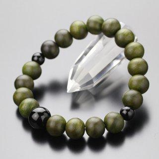 数珠ブレスレット 約10ミリ 緑檀 黒オニキス 107100035
