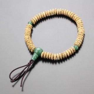 数珠ブレスレット 平玉 星月菩提樹 印度翡翠 ボサ付 107000053