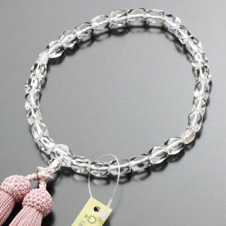数珠 女性用 さざれ玉 本水晶 ローズクォーツ 正絹房 102000039 送料無料