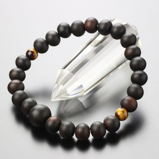 数珠ブレスレット 約8ミリ 縞黒檀 二天虎目石 107080071