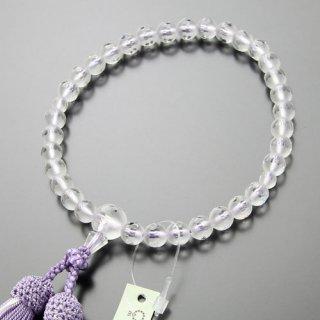 数珠 女性用 約8ミリ 淡雪(本水晶)カットライン 正絹2色房(藤色/白ライン)102080066 送料無料