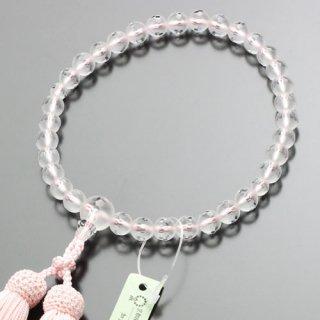 数珠 女性用 約8ミリ 淡雪(本水晶)カットライン入 正絹房(薄ピンク色/白ライン)102080068 送料無料