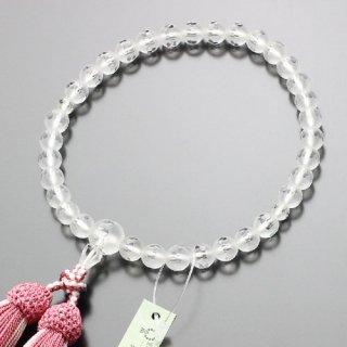 数珠 女性用 約8ミリ 淡雪(本水晶)カットライン入 正絹房(ローズピンク)102080067 送料無料