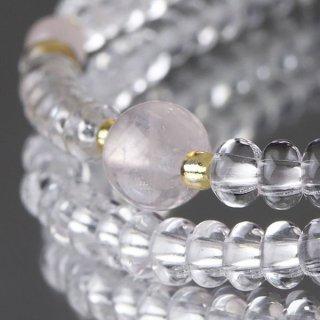 数珠ブレスレット 108玉 みかん玉 本水晶 ローズクォーツ 107000065