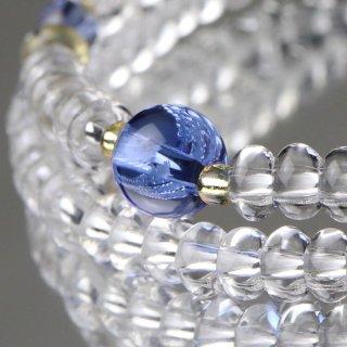 数珠ブレスレット 108玉 みかん玉 本水晶 ブルークォーツ 107000068