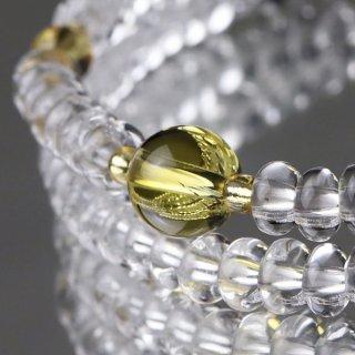 数珠ブレスレット 108玉 みかん玉 本水晶 黄水晶 107000066