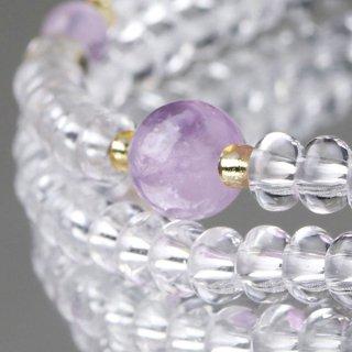 数珠ブレスレット 108玉 みかん玉 本水晶 藤雲石 107000067