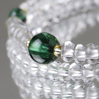 数珠ブレスレット 108玉 みかん玉 本水晶 グリーンクォーツ 107000070