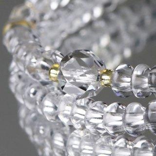 数珠ブレスレット 108玉 みかん玉 本水晶 カット本水晶 107000064