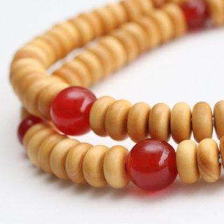 数珠ブレスレット 108玉 みかん玉 柘植 瑪瑙 107000090