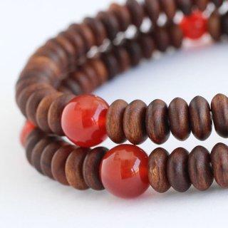 数珠ブレスレット 108玉 みかん玉 栴檀 瑪瑙 107000085