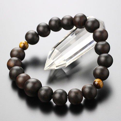 数珠 ブレスレット 約10ミリ 縞黒檀 二天虎目石【腕輪念珠 数珠ブレス タイガーアイ 天然木 木製 木】