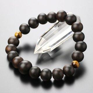数珠ブレスレット 約10ミリ 縞黒檀 二天虎目石 107100025
