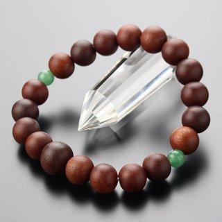 数珠ブレスレット 約10ミリ 紫檀 二天 印度翡翠 107100030