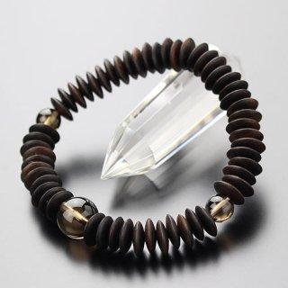 数珠ブレスレット 54玉 平玉 縞黒檀 茶水晶 107000025
