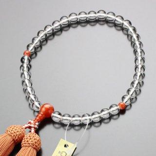 数珠 女性用 約7ミリ 本水晶 赤縞瑪瑙 正絹房 102070076 送料無料