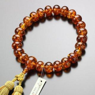数珠 男性用 22玉 みかん玉 琥珀 正絹房 101000013 送料無料