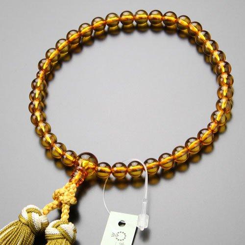 数珠 女性用 約7ミリ 本琥珀 銀花かがり房【京念珠 アンバー】【送料無料】