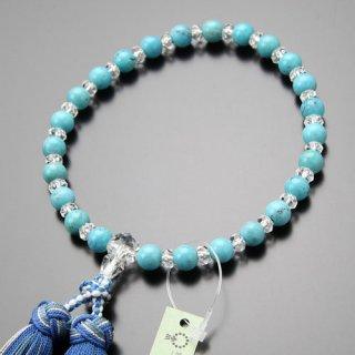 数珠 女性用 約8ミリ アリゾナ産 天然トルコ石 平切子水晶 交互 銀花かがり房 2000200600985 送料無料
