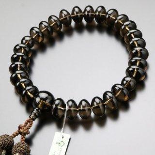 数珠 男性用 27玉 みかん玉 茶水晶 正絹2色房 101000020 送料無料