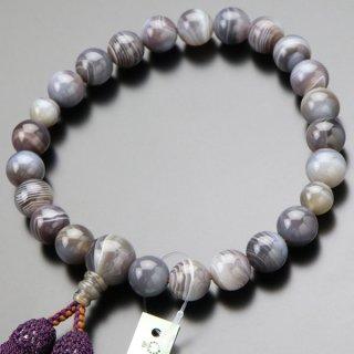 数珠 男性用 22玉 グレー系縞瑪瑙 正絹2色房 101220091 送料無料