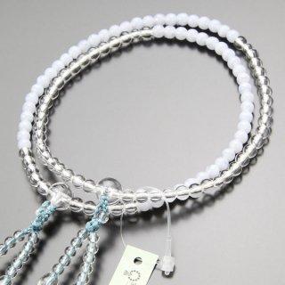 八宗派兼用 数珠 女性用 8寸 ブルーレース/本水晶 正絹2色房 102880067 送料無料