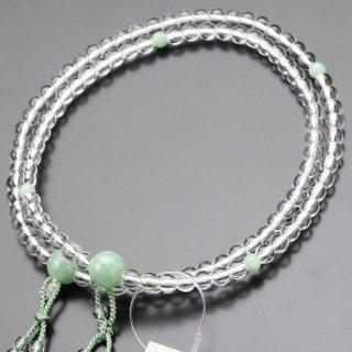 真言宗 数珠 女性用 8寸 本水晶 ビルマ翡翠 2色梵天房 2000400100551 送料無料